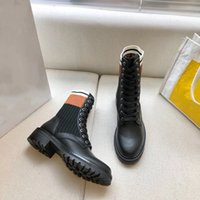 2020 High Quality Womens Leather Shoes Lace Up Ribbon Belt Buckle Ankle Boots Factory Direct Female Rough Heel Round Head Size:35-40