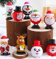Noël en plastique Windup Jouet Père Noël bonhomme de neige Clockwork Jouets enfants saut cadeau personnages de dessins animés Modeling Cadeaux de Noël GGA3756-2