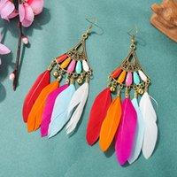 Dangle lustre Boucles d'oreilles rétro du secteur rétro pour femmes 2021 Boho Plume exotique Tassel Bijoux Tibétatans Brincos Bijoux