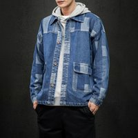 Chaquetas para hombres Iidosan Otoño Hombres Japonés Harajuku Coat Denim Casual Jeans Patchwork Vintage Moda Hiphop Tops