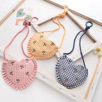 Nette Baby Mädchen Kirsche Stickerei Mini Taschen Ins Love Hart Rüschen Änderung Geldbörse Ins Kinder Koth Crossbody Bag Messenger Bags S559