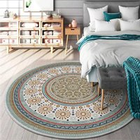Persian Style Round Carpets Living Room Bedroom Rug and Carpet Classic Flower Home Decor Study Coffee Table Non-Slip Floor Mats