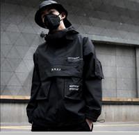 Función oscuro Bajo Carga capas de las chaquetas de Calle táctico Pullover Harajuku Multi-bolsillo con capucha cazadora Coats