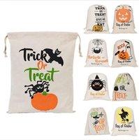 Bolsas de regalo de Halloween del truco grande orgánica pesada bolsa de mano o tratamiento de bolsa de decoración de la araña Abucheos caramelo del regalo del algodón del transporte marítimo de DDA526