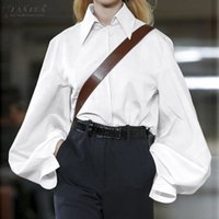 Лучшие моды 2020 ZANZEA весна вскользь отворот рубашка Женщины Сплошной работы Блуза Длинного Puff рукав Туника Топы Женского Blusas сорочка