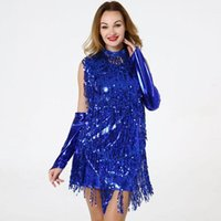 Robes Famale Stage Porter Femmes Sequin Tassel Robe sexy Nightclub manches Latin Jazz Casual