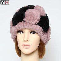 Beanie / Capas de cráneo Lady rusa floral genuino rex piel sombrero invierno mujeres cálidas naturales verdaderos sombreros marca marca