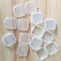 Svuotare Piazza Mini plastica trasparente Contenitori della cassa della scatola con coperchi piccola scatola di gioielli Tappi per le orecchie Storage Box HHA1594