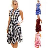 Frauen Kleidung Plaid Frauen Desigenr Kleider Beiläufiges Halter gefaltetes Sleeveless Asymmetrische Blusenkleider Mode