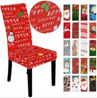 Weihnachts Hussen Weihnachtsmann-Abdeckung Snowman Elk-Druck Dinner Stuhl zurück Covers Weihnachten Startseite Bankett Hochzeit Weihnachtsdeko LSK1209