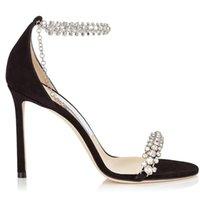 saltos altos de couro das mulheres frete grátis, novas de uma só palavra Sandals-dedo do pé aberto, saltos magros com strass cadeia, Tamanho: 34-40, preto