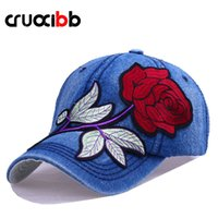 Kugelkappen CruoxiBB Mode Frauen Baseballmütze Stickerei Rot Rosenhut Knochenrückback Frauen Casquette Outdoor Jeans Denim Chapeau