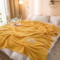 Solid Color Soft Yellow Throw Blanket For Beds Square Flannel Blanket On The Bed Thickness Warm Blankets On The Couch