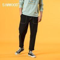 SIMWOOD 2020 Sonbahar Kış Yeni Siyah Kot Erkekler Gevşek Konik Ayak bileği uzunlukta Denim Pantolon Enzim Yıkanmış Artı boyutu Jeans SJ130243