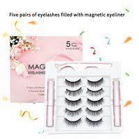 Magnetici Ciglia finte diKit False Lashes 5 paia Con pinzette Cinque magnete magnetici eyeliner e ciglia