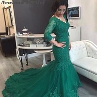 Elegant Arabic Hunter Green Mermaid Evening Dresses 3 4 Long Sleeve Applique Lace Court Train Formal Bridal Gowns Plus Size Prom party Dress