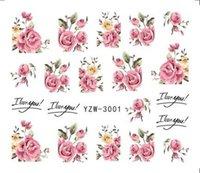 1 Hojas 2020 diseñador DIY Consejos de transferencia de agua de uñas rosa del arte de la etiqueta engomada flor de Rose Tatuajes de mujeres de belleza boda Nails