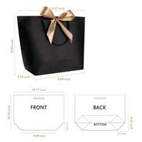Özelleştirilebilir Büyük Boy Hediye Kutusu Ambalaj Altın Kolu Kağıt Hediye Çanta Kraft Kağıt Kolları Ile Düğün Bebek Duş Doğum Günü Partisi Favor