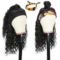 Ishow Human Hair Wigs With Headband Body Straight Water Headband Wig Natural Color Loose Deep Curly Machine Made Non Lace Wigs head bands