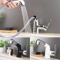 Badezimmer Waschbecken Wasserhähne Ankunft Black Pull Out Becken Wasserhahn Messing Mischbatteriehahn und Kaltwinde