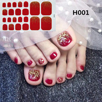 22tips / folha Toe Waterproof etiquetas do prego completa capa de pé decalques Toe Nail Wraps adesivas DIY Salon Manicure Atacado