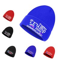 Trump Knitted Hat Woolen Caps Keep America Great Donald Trump 2020 Embroidered Letters Skull Beanies Cap Unisex Warm Winter Beanie