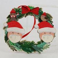 2020 Карантин Рождественские украшения елки деревянный снеговик висит Подвесной Санта-Клаус украшения DIY Имя Семья из 2-6 GGA3742-4