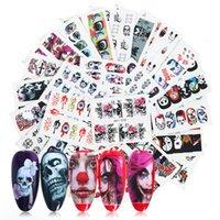 Halloween-Nagel-Kunst-Aufkleber-Kit 25 Stück Schädel Sexy Girl Wassertransfer Abziehbilder Charms Nails Tattoo Design Schmuck Folie Wraps Aufkleber-Set
