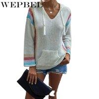 WEPBEL 가을과 겨울 캐주얼 긴 소매 풀오버 느슨한 포켓 스웨터 여성의 패션 바느질 니트 후드 스웨터