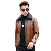 Veste en cuir véritable Automne Hiver motocyclette Manteau en peau de mouton pour hommes coréenne Slim fourrure d'agneau Collier 2876 KJ840