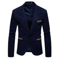 Весна Мужской одежды V шеи длинным рукавом мужские Вельвет Blazer Мода одной кнопки Сплошной цвет Мужские костюмы куртки