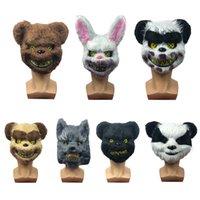 Страшно Хэллоуин кролик кролик маска страшный жуткий плюшевый животное Panda медведь головной уборщик маска маскарады партия косплей ужасные реквизиты vt1595
