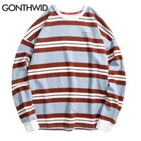 GONTHWID Color Block Striped Print Pullover Sweatshirts Hood...