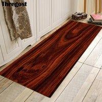Thregost Wood Grain Printed Indoor Mat Kitchen Carpet Long Bathroom Mats Welcome Rug Microfiber Floor Carpets Absorbent Doormat