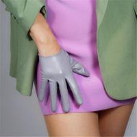 Cinco dedos Guantes Guantes de cuero ultra corta 16 cm Muñeca expuesta Sheepskin Silver Silver Light PUQHS16