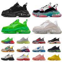 신발 balenciaga triple s clear sole luxury designer sneakers 플랫폼 남성 여성 크리스탈 하의 캐주얼 신발 블랙 화이트 그린 여성 디자이너 럭셔리 플랫 트레이너