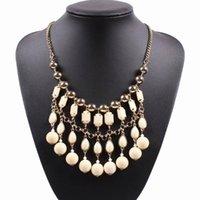 Kedjor 2021 mode kvinnor bib uttalande halsband tre rad av färgglada harts wtih guld färg kedja pärla pendant långa smycken