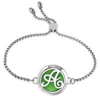 Charm pulseiras letras 25mm pulseira difusor 316L mulheres de aço inoxidável pulseira de óleo essencial aroma de óleo com almofadas 10pcs