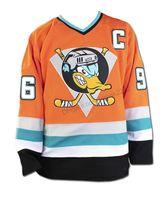 사용자 정의 도매 Mighty Ducks 96 Charlie Conway 영화 하키 유니폼 남성 모든 스티치 오렌지 모든 이름 번호 크기 2xs-4XL 5XL 6XL