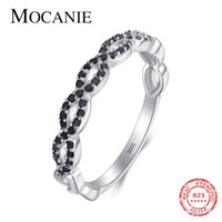 Mocanie New 925 Sterling Silver Black Crystal Geometric Cross Line Ring for Women Stackable Finger Ring Wedding Party Jewelry