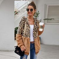 2020 Осень искусственного меха пальто женщин Leopard Тедди пальто дамы плюша с капюшоном пальто зимы женщин пушистого меха Тедди куртка Женский T200908