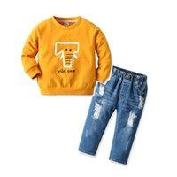 어린이 정장 어린이 스웨터 캐주얼 유아 소년 suitsSweater + 청바지 나들이 청바지 투피스 정장 아기를 찢어