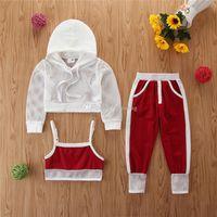 어린이 디자이너 의류 여자 야외 스포츠 의상 어린이 메쉬 후드 탑 + 조끼 + 바지 3PCS / 설정 여름 스포츠웨어 아기 의류 M1475을 설정합니다