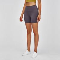 L-101 entrenamiento de cintura alta pantalón corto deportivo mujeres desnudas sensación Tejido liso Squatproof Yoga Entrenamiento Sport Shorts polainas color sólido