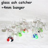 Hookahs Tubos de água de vidro Ashcatcher Bong com recipiente de silicone de Banger de quartzo 14 mm 18mm Catcher de cinzas para plataformas de óleo de bongos