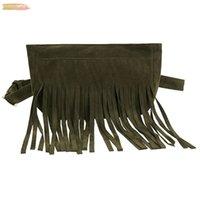 Femmes poitrine Sac Sac de taille Mode Tassel carré parfait Flock Messenger Bag poitrine Femme Zipper Sacs à main téléphone argent poche