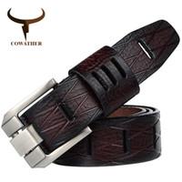 Cintos Cowather 2021 qualidade vaca genuína couro de couro luxo para cinta macho pin fivela tamanho grande 100-130cm 3.8 largura qsk001