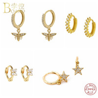 Boako 925 스털링 실버 귀걸이 귀여운 한국어 INS 비 블링 CZ 스타 후프 귀걸이에 대한 여성 여자 Pendientes 파인 쥬얼리