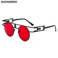 Kachawoo runda gotiska steampunk solglasögon män vintage svart röd retro metall ram ångpunk solglasögon kvinnor tillbehör
