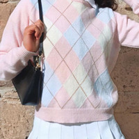 Camisolas femininas bonito rosa y2k argyle camisola womens outono moda 2021 malha pulôver manga longa xadrez top top puxos femme
